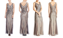 jkara Sleeveless V-Neck Beaded Gown - Steel - Size: 10