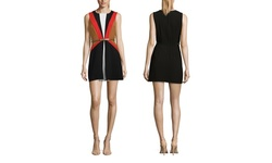Sleeveless Shift Dress with Colorblock and Belt - Black - Size: M