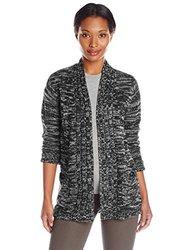 Jason Maxwell Women's Marled Hi-Lo Cardigan Sweater - Black - Size: Large