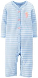 Carter's Baby Girls' Striped Romper (Baby) - Seahorse - 6 Months