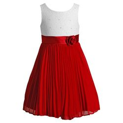 Girls Emily West Pleated Chiffon Dress - White/Red