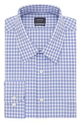 Arrow Regular Fit Spread Collar Check Dress Shirt - Bluebird - Size: XXL x 34/35