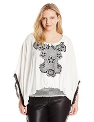 Democracy Women's Plus-Size Smocked Peasant Blouse - Off White - Size: 2X