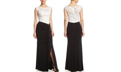Decode Lace Colorblock Gown with Slit - Black/White - Size: 6