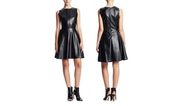Press Lazer Cut Faux Leather Dress - Black - Size: Medium