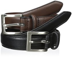 Dockers Boys' 2 For 1 Feather Edge Boys Belts, Black/Brown, Small