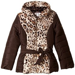 Amy Byer Girl's Printed Puffer Coat with Faux Fur Panel - Tan - Size: 16