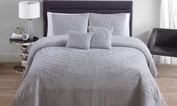 Hilltop Plush Bedspread 5 Piece - Grey - Size: Queen