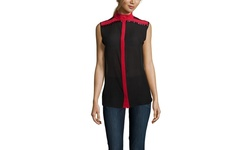 LAMB Women's Sleeveless Beaded Silk Top - Bordeaux/Red - Size: 4