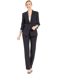 Tahari ASL Women's One Button Pinstripe Pantsuit - Charcoal - Size:
