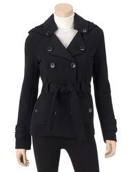 Ashley Girls Double Breasted Hooded Jacket - Black - Size: Medium
