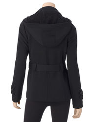 Ashley Juniors Double Breasted Hooded Jacket - Charcoal - Size: Medium
