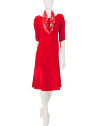 Dana Kay Women's Fit & Flare Dress with Scarf - Red - Size: 14