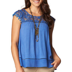 Democracy Women's Textured Crochet Embellished Top - Cobalt Blue - Sz: XL