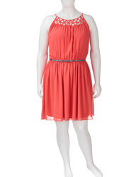 My Michelle Girls Bright Coral Lattice Neck Dress - Orange - Size: 1X