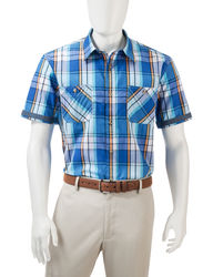 Haggar Men's Multicolor Madras Plaid Woven Shirt - Marine - Size: Medium