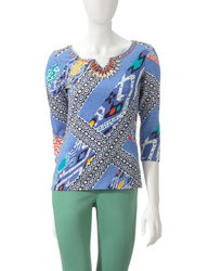Ruby Rd. Women's Mixed Print Embellished Top - Blue - Size: Medium