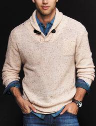 Signature Studio Men's Toggle Sweater - Cream - Size: Medium