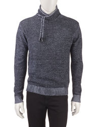 Signature Studio Men's Cross Neck Hooded Sweater - Black - Size: Large