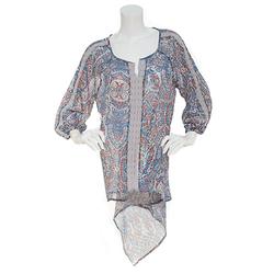 Democracy Women's Paisley Chiffon Embroidered Trim Tunic - Blue - Size: XL