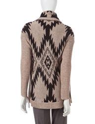 Hannah Women's Tonal Tribal Knit Cardigan - Gray - Size: L
