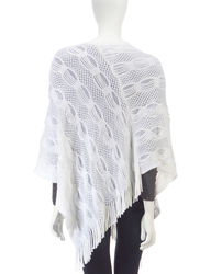 Accessory Street Women's Wool Lurex Striped Poncho Top - White