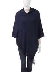 Accessory Street Women's Textured Knit Poncho - Navy