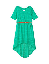 My Michelle Girls Lace Hi-Lo Dress - Green - Size: 10