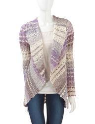 Hannah Women's Leo & Nicole Tonal Crochet Knit Cardigan - Purple - Size: L