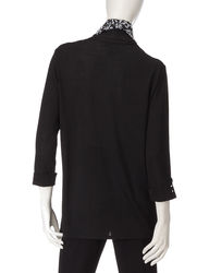 Cathy Daniels Women's Layered Look Top & Scarf - Black - Large