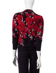 Cathy Daniels Women's Snap Front Rose Print Cardigan - Black/Red - XL