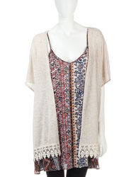 Signature Studio Women's 2-pc Tile Print Tunic Top Set - Oatmeal - Size: L