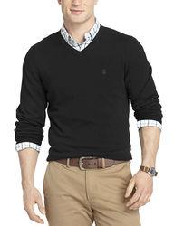 Izod Men's V-Neck Sweater - Black - Size: Large