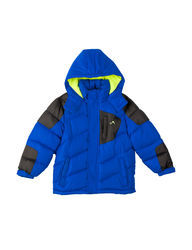 Vertical 9 Boy's Hooded Winter Coat Jacket - Blue/Black - Size: 4