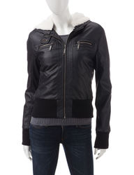 Ashley Girls Juniors Faux Leather Hooded Sherpa Jacket - Black -  Size: M