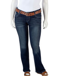 Amethyst Girls Juniors Plus Belted Bootcut Jeans - Dark Rinse - Size: 16