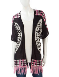 Pink Rose Women's Aztec Fringe Sweater - Black Multi - Small