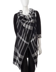 Valerie Stevens Women's Plaid Knit Wrap Sweater - Black/Ivory - Size:Small