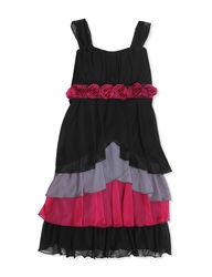 Speechless Girls Floral Tier Dress - Black - Size: 7