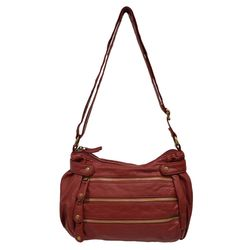 Women's Pearlized Washed 3-Zipper Cross Body Handbag - Bronze - Size: One