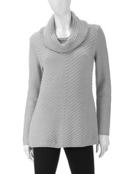 Valerie Stevens Women's Solid Color Metallic Sheen Sweater - Silver - L