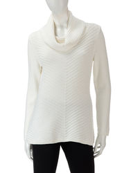 Valerie Stevens Women's Winter White Mitered Striped Sweater - Cream - XL