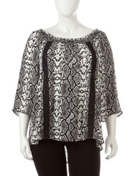 Signature Studio Women's Snake Print Peasant Top - Black/White - Size: 2X