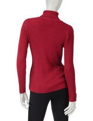 Valerie Stevens Women's Metallic Turtleneck Sweater - Red - Size: Large