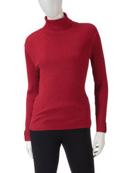 Valerie Stevens Men's Metallic Turtleneck Sweater - Red - Size: XL