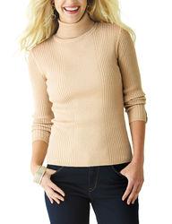 Valerie Stevens Women's Gold Metallic Knit Sweater - Gold - Size: M