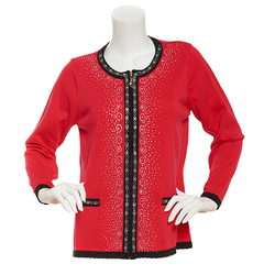 Cathy Daniels Women's Zip Front Rhinestone Cardigan - Red/Black - Size: 2X