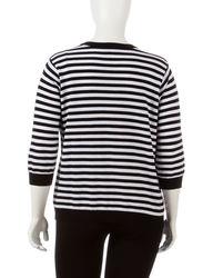 Cathy Daniels Women's Black Beauty Striped Sweater - Black/White - 1X