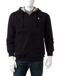 U.S. Polo Assn. Men's Full Zip Fleece Hoodie - Blue Heather - Size: XL