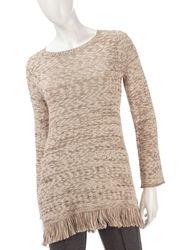 Valerie Stevens Women's Sharkbite Fringed Sweater - Beige - Size: Medium
